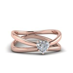 Heart Shaped Diamond Reversed Split Solitaire Engagement Ring In 14K Rose Gold