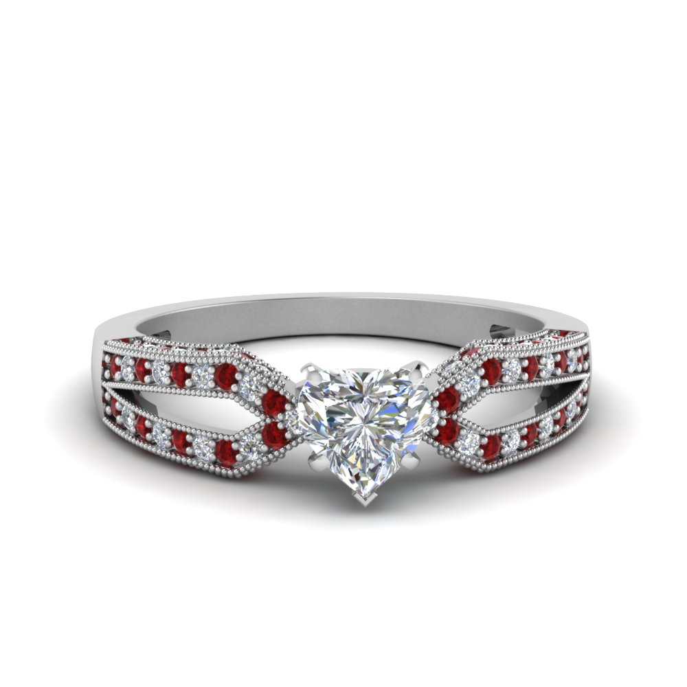 Antique Split Pave Heart Shaped Diamond Engagement Ring With Ruby In 14K White Gold