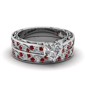 Filigree Wedding Ring Set With Ruby