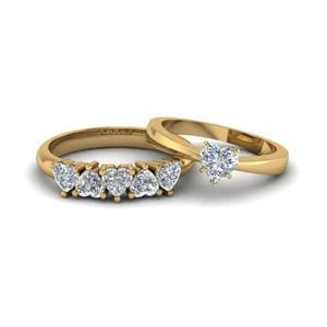 Heart Shaped Solitaire Wedding Set