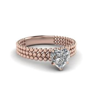 Heart Shaped Diamond Tri Row Bead Solitaire Ring In 14K Rose Gold