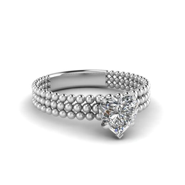 Tri-Row Bead Solitaire Ring