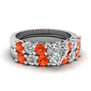 Orange Topaz Bridal Set