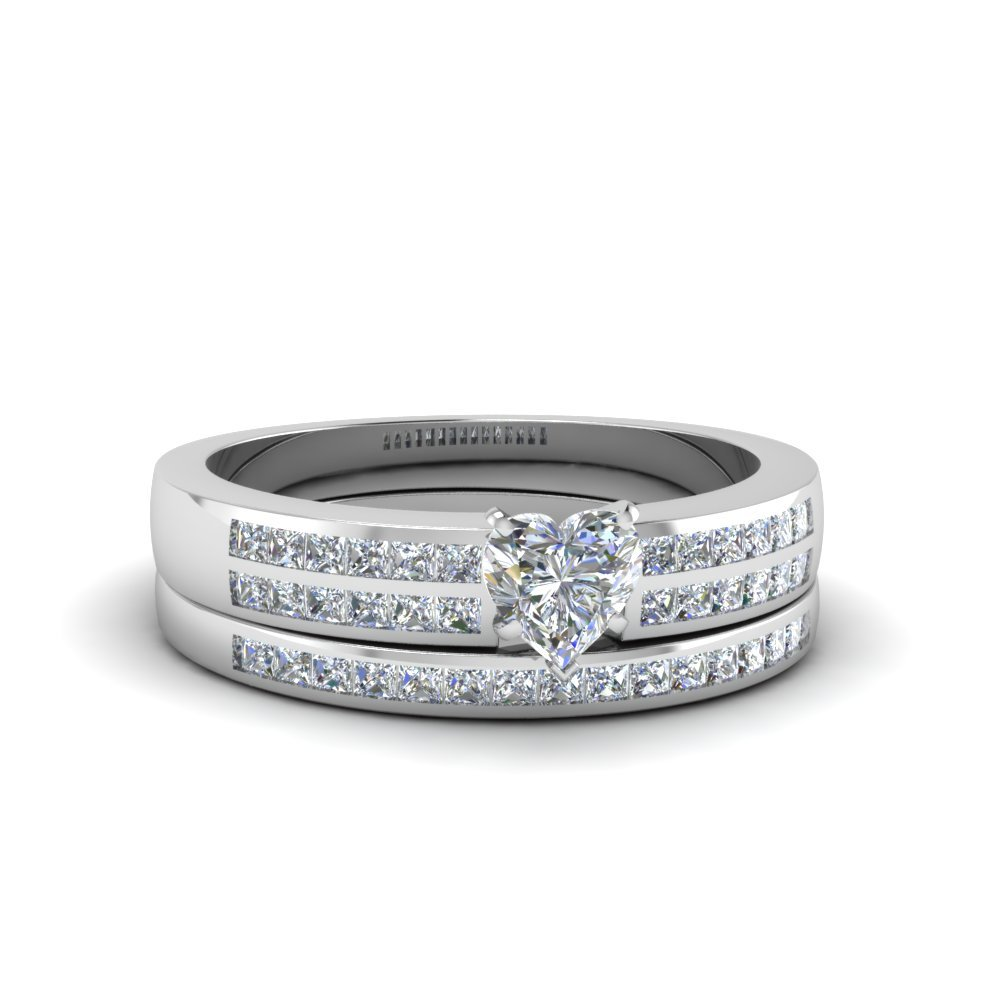 Heart Shaped Double Row Channel Diamond Wide Bridal Set In 18K White Gold