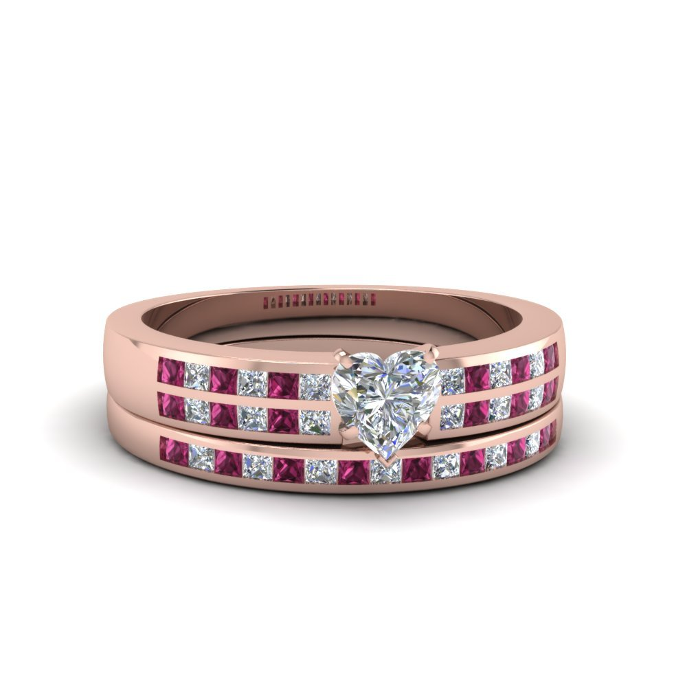 Heart Shaped Double Row Channel Diamond Wide Bridal Set With Pink Sapphire In 14K Rose Gold