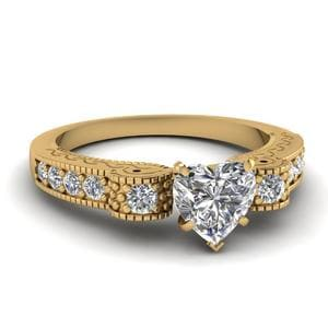 Heart Shaped Engraved Antique Pave Diamond Vintage Engagement Ring 14K Yellow Gold In 14K Yellow Gold