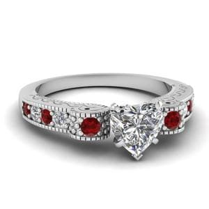 Engraved Antique Pave Heart Shaped Diamond Engagement Ring With Ruby In 18K White Gold