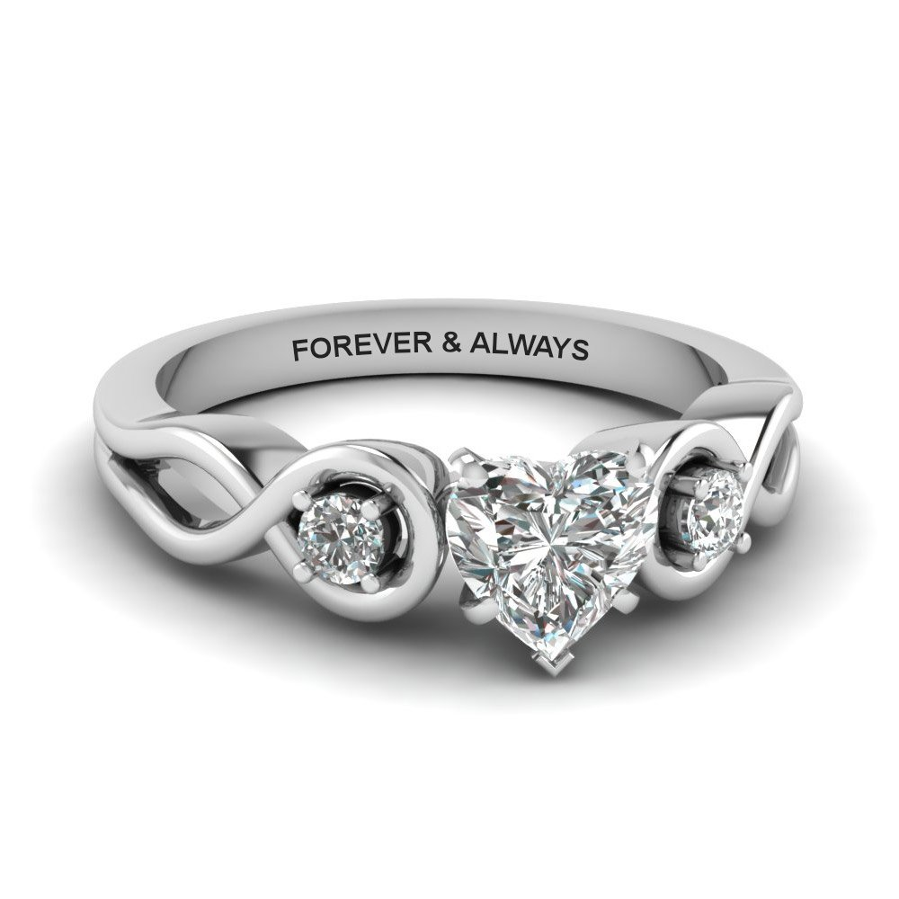 Heart Shaped Engraved Three Stone Diamond Engagement Ring In 18K White Gold