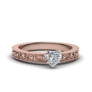Heart Shaped Filigree Solitaire Diamond Engagement Ring For Women In 14K Rose Gold