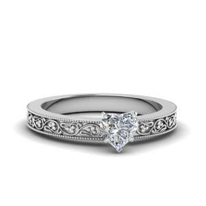 Heart Shaped Filigree Solitaire Diamond Engagement Ring For Women In 14K White Gold