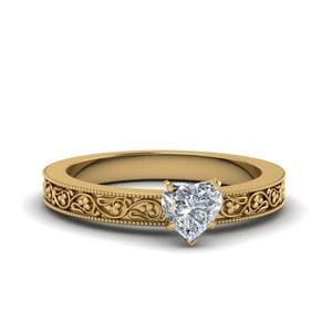Heart Shaped Filigree Solitaire Diamond Engagement Ring For Women In 14K Yellow Gold