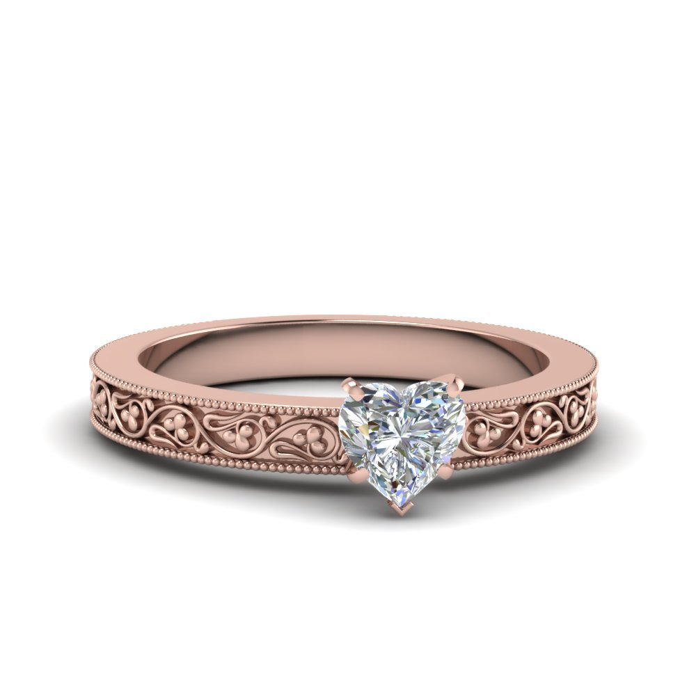 Heart Shaped Filigree Solitaire Diamond Engagement Ring For Women In 18K Rose Gold