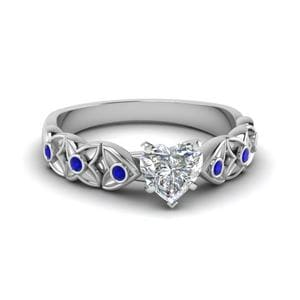 Heart Shaped Sapphire Floral Ring