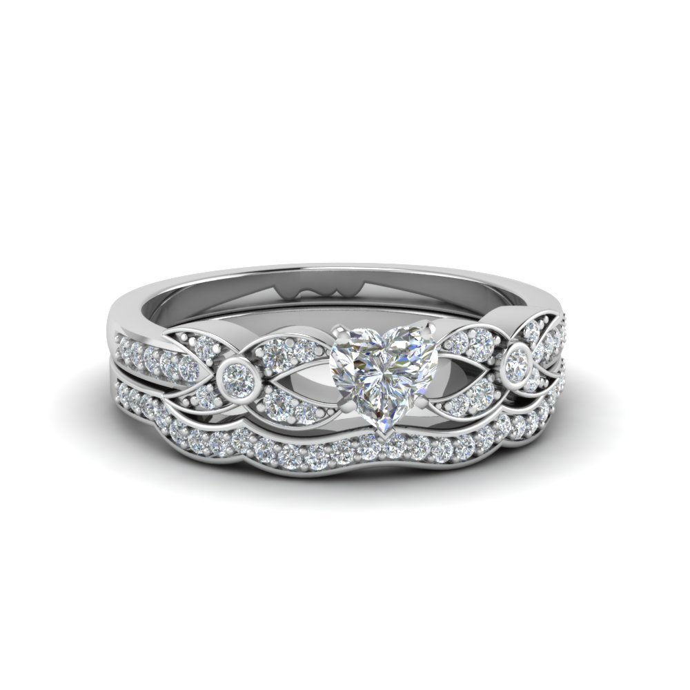 Heart Shaped Flower Pave Diamond Wedding Ring Set In 18K White Gold