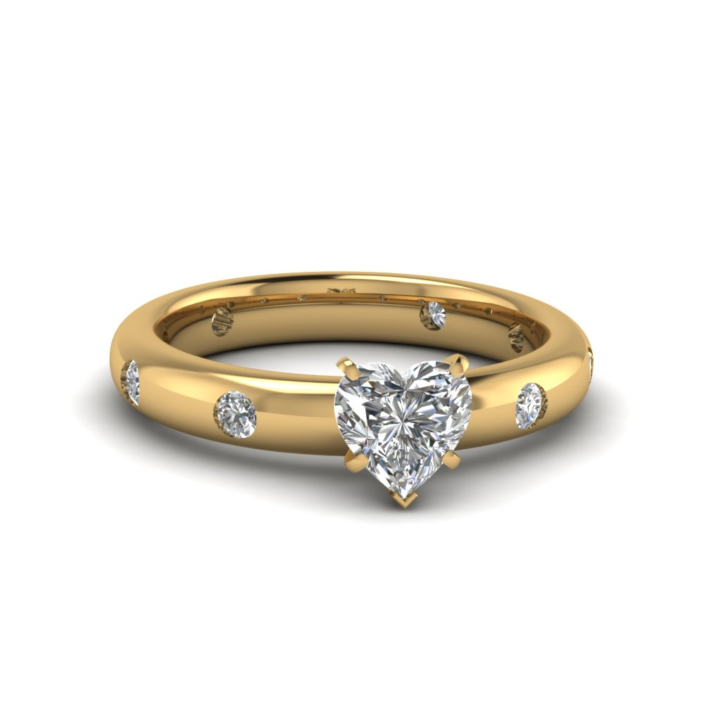 Flush Set Heart Shaped Diamond Engagement Ring In 14K Yellow Gold