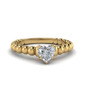Heart Shaped Gold Bead Solitaire Diamond Engagement Ring With Orange Sapphire In 14K Yellow Gold