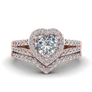 Heart Halo Diamond Ring Set