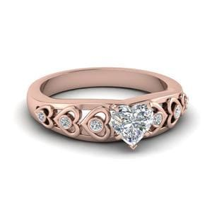 Heart Design Diamond Accent Engagement Ring In 14K Rose Gold