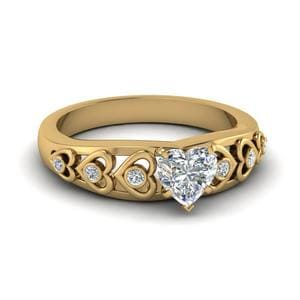 Heart Design Diamond Accent Engagement Ring In 14K Yellow Gold