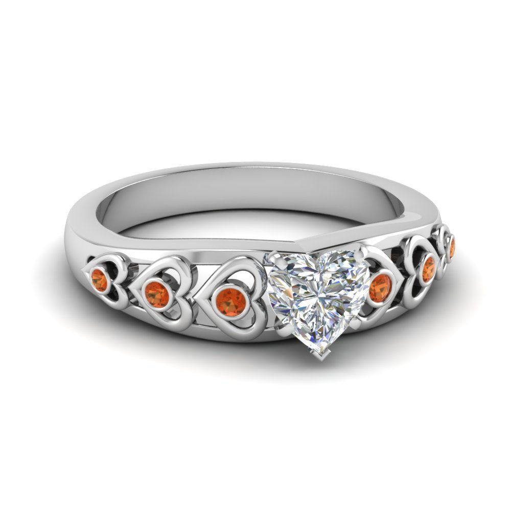 Heart Design Diamond Accent Engagement Ring With Orange Sapphire In 14K White Gold