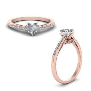 Heart Shaped High Set Milgrain Diamond Engagement Ring In 14K Rose Gold