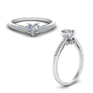 Heart Shaped High Set Milgrain Diamond Engagement Ring In 14K White Gold