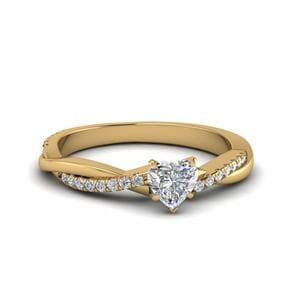 Heart Shaped Infinity Twist Diamond Engagement Ring In 14K Yellow Gold