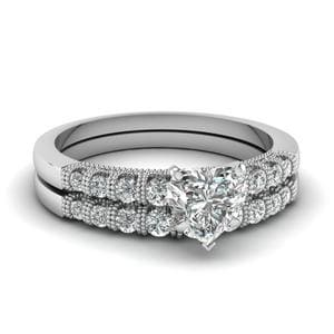 Heart Shaped Milgrain Bar Set Diamond Wedding Ring Set In 18K White Gold