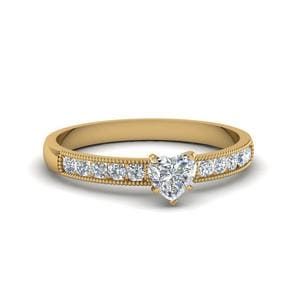 Heart Shaped Milgrain Design Channel Set Diamond Engagement Ring In 18K Yellow Gold