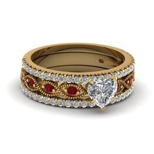 Trio Milgrain Ruby Wedding Set