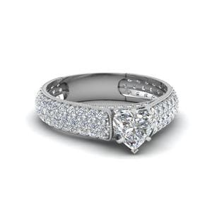 Milgrain Multi Row Pave Ring