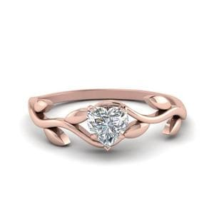 Leaf Style Heart Diamond Ring