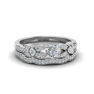 Pave Diamond Delicate Wedding Set