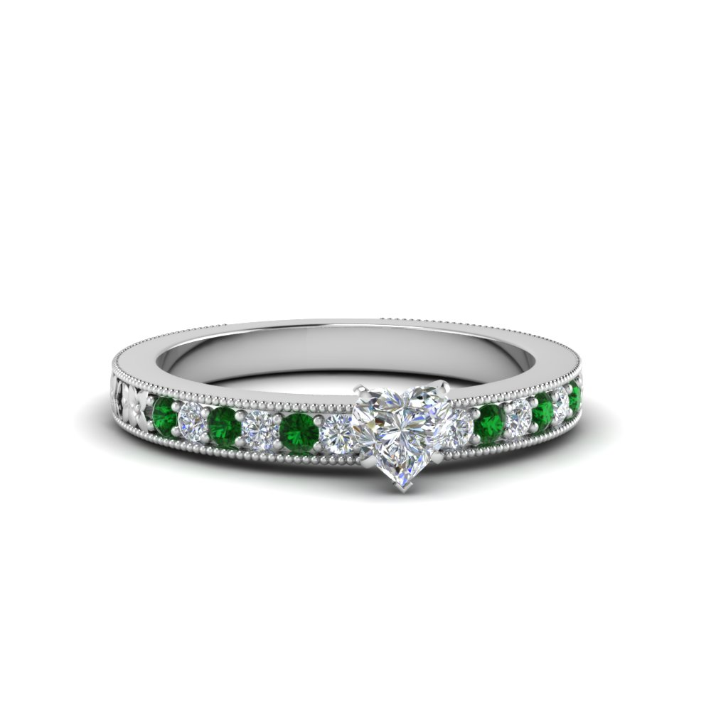 Heart Shaped Emerald Pave Ring