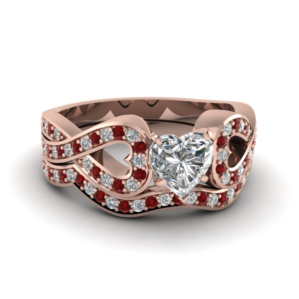 Entwined Heart Shaped Diamond Wedding Ring Set With Ruby In 18K Rose Gold