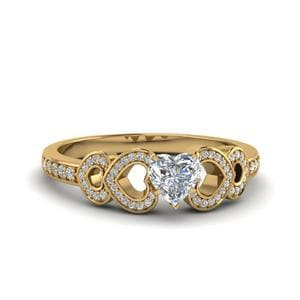 Pave Heart Design Diamond Ring