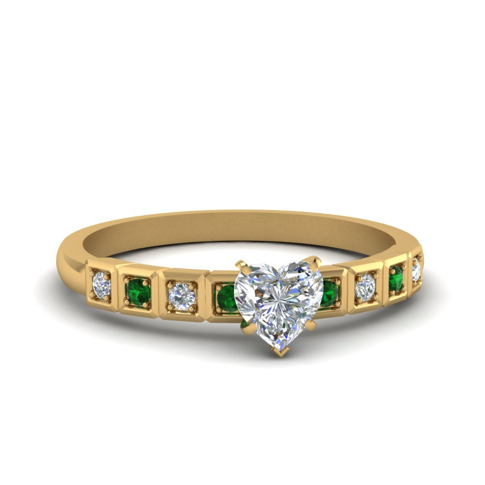 Heart Shaped Petite Block Design Diamond Engagement Ring With Emerald In 18K Yellow Gold