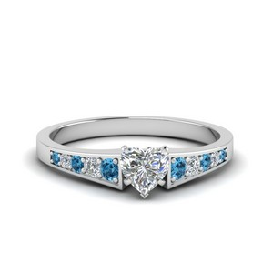 Blue Topaz Heart Engagement Rings