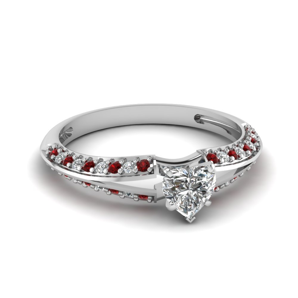 Heart Shaped Petite Split Shank Diamond Engagement Ring With Ruby In 18K White Gold