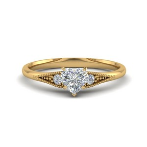 Small Accents 3 Stone Pave Ring