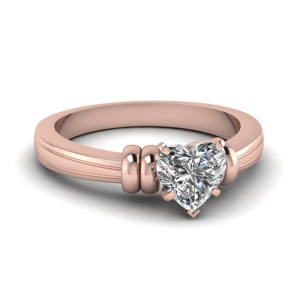 Heart Shaped Solitaire Diamond Engagement Ring In 14K Rose Gold