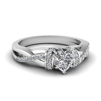 Heart Shaped Split Shank 1 Karat Diamond Ring