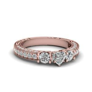 Heart Shaped Stone Accented U Prong Diamond Vintage Engagement Ring In 18K Rose Gold
