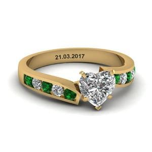Unique Swirl Heart Diamond Engagement Ring With Emerald In 18K Yellow Gold
