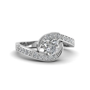 Swirl Pave Heart Diamond Ring