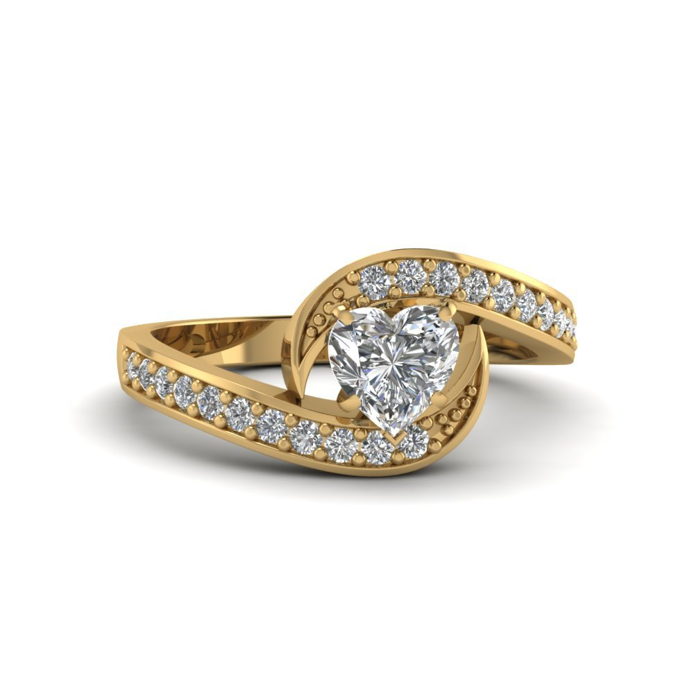 Heart Shaped Swirl Pave Diamond Engagement Ring In 14K Yellow Gold