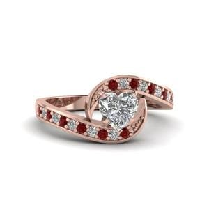 Heart Shaped Swirl Pave Diamond Engagement Ring With Ruby In 14K Rose Gold