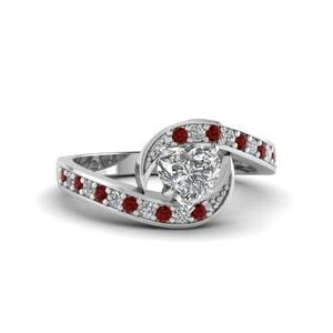 Swirl Ruby Pave Diamond Ring