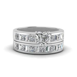 Heart Shaped Thick Band Diamond And Baguette Wedding Set In 18K White Gold