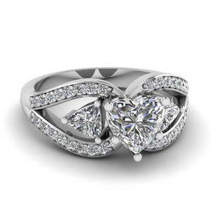 Trillion Antique Heart Engagement Ring